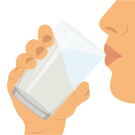 To drink water. A glass with water. Healthy lifestyle. Иллюстрация