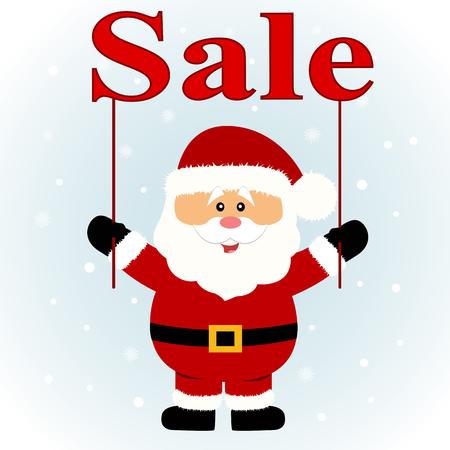 Venta de Navidad. Papa Noel. Santa con banner. Diseño plano. Ilustración vectorial