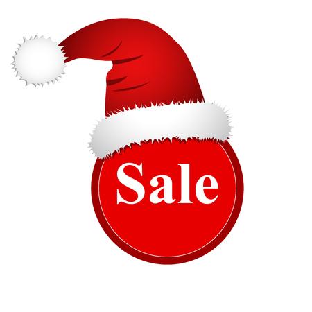 Christmas sale, banner with Santa Claus hat. Фото со стока