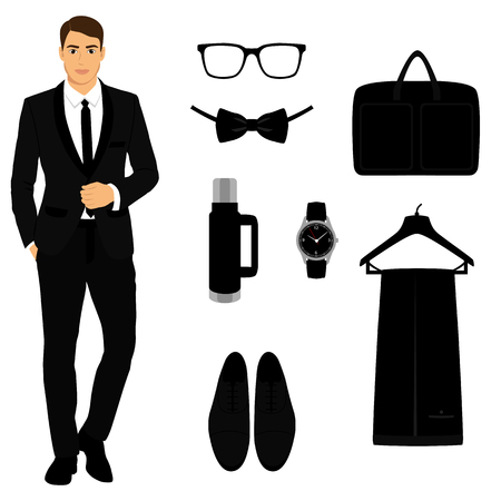 Mens Accessories. Flat design. 版權商用圖片