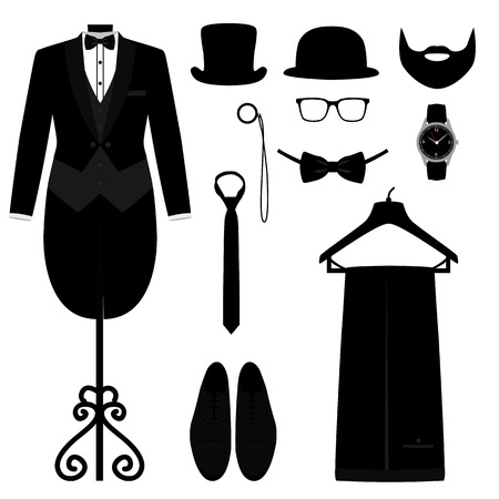 Mens Accessories. Flat design. Фото со стока