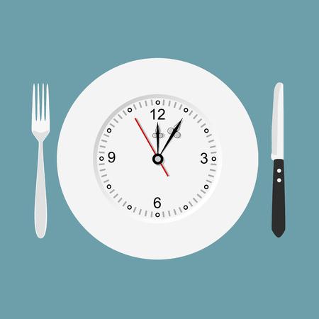 Dinner time. Flat design. Фото со стока