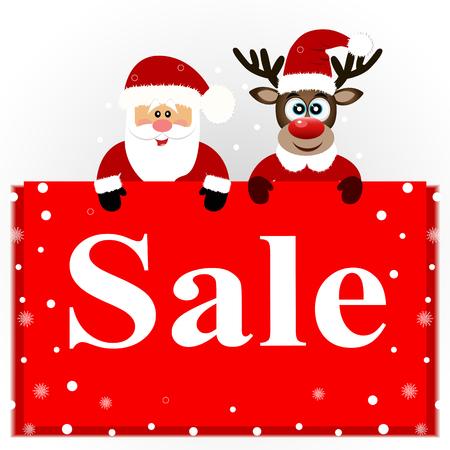 Christmas sale, Christmas deer and Santa with banner.