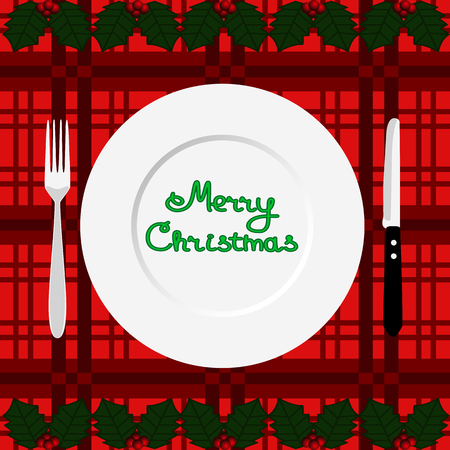 Christmas dinner. Dinner time. Cutlery. Flat design