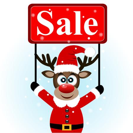 Christmas sale, Christmas deer with banner.