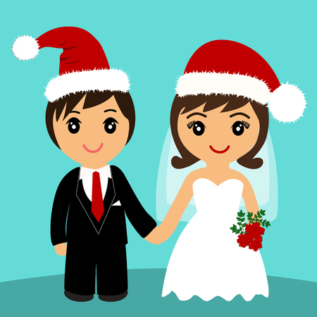 Bride and groom. Wedding card with the newlyweds in Christmas ha