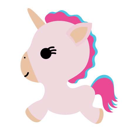 Unicorn. Fairy-tale character. Isolated object. Flat design