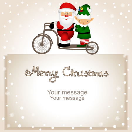Christmas card. Santa Claus and elf on a bicycle