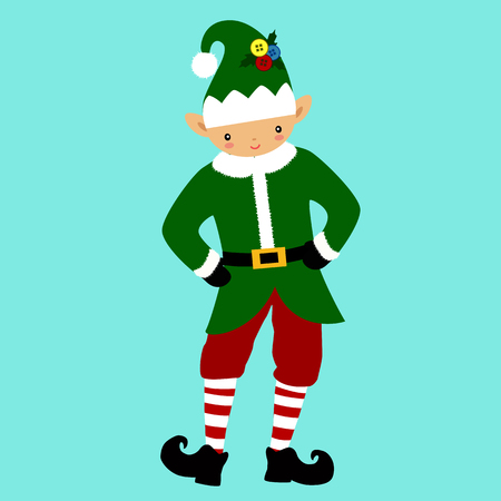 Christmas Elf. Christmas icon. Santa Claus helper.