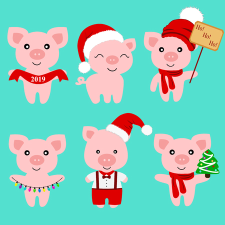Christmas Pig. Christmas icon. Symbol of the New Year. Collection. New Year. Christmas decoration Vector illustration