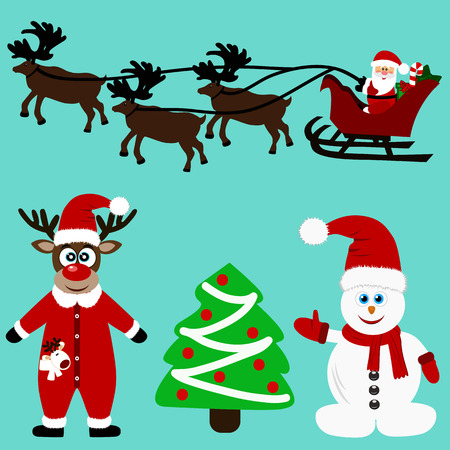 Christmas icons. Collection. Santa. New Year. Symbol Christmas decoration Vector illustration Иллюстрация
