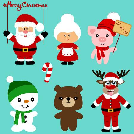 Christmas icons. Collection. Santa. New Year. Symbol Christmas decoration Vector illustration Illustration