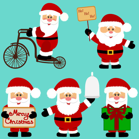 Christmas icons. Santa Claus. Collection. New Year. Christmas decoration Vector illustration