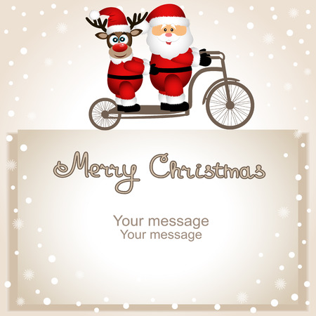 Christmas card. Santa Claus and Christmas reindeer on a bicycle.