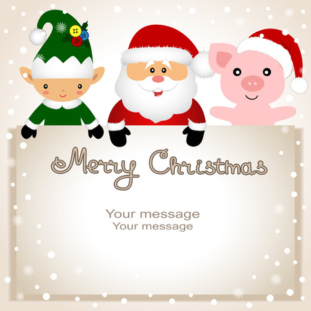 Christmas card. Funny postcard with Christmas Elf, pig and Santa Фото со стока - 115371498