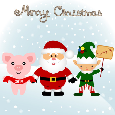Christmas card. Funny postcard with Christmas Elf, Christmas pig and Santa. Vector Illustration. Фото со стока - 126818029
