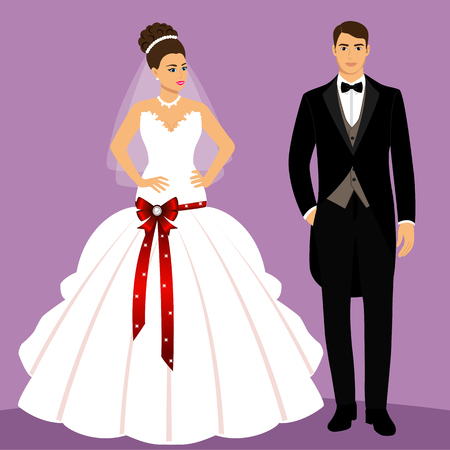 Bride and groom. Couple. Wedding card with the newlyweds. Isolated objects. Vector illustration.