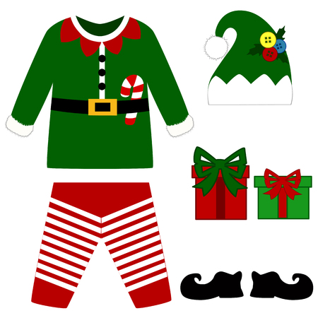 Romper suit. Christmas costume for children. Christmas elf costume. For girls and boys. Vector illustration. Иллюстрация