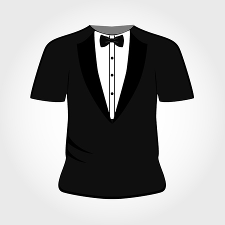 Suit icon isolated on white background. T-shirt tuxedo. Vector illustration