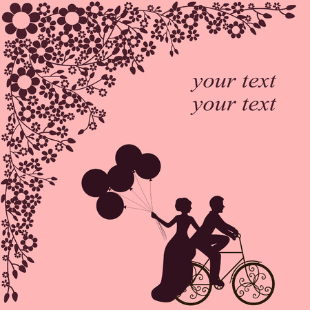 Valentine s Day. Postcard for Valentine s Day. A loving couple by bike. Also suitable for invitation card. Vector illustration.