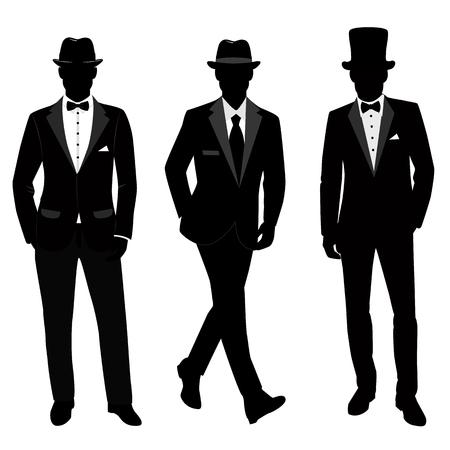 Hochzeitsanzug und Smoking für Herren. Gentleman. Sammlung. Der Bräutigam. Vektor-Illustration