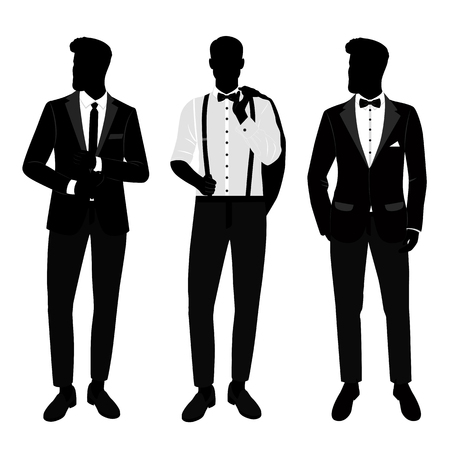 Wedding men s suit and tuxedo. Gentleman. Collection. The groom. Vector illustration Фото со стока - 125353556