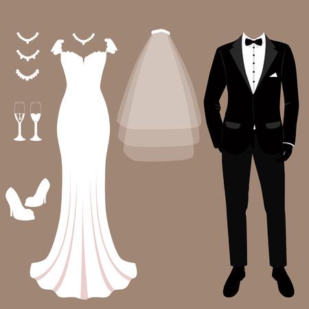 Carte de mariage avec les vêtements des mariés. Ensemble de mariage. Belle robe de mariée et smoking. Illustration vectorielle. Vecteurs