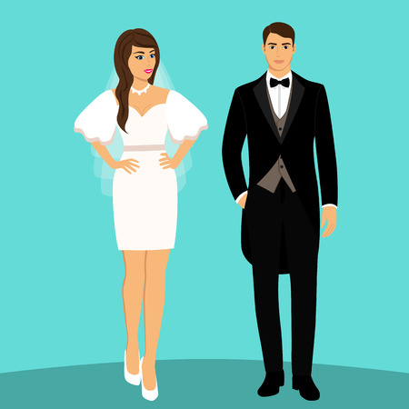 Bride and groom. Couple. Wedding card with the newlyweds. Isolated objects. Vector illustration. Фото со стока - 124971104