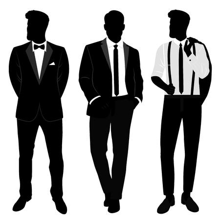Wedding men s suit and tuxedo. Gentleman. Collection. The groom. Vector illustration