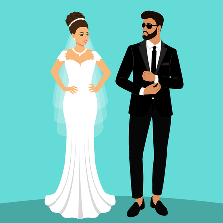 Mariée et marié. Couple. Carte de mariage avec les jeunes mariés. Objets isolés. Illustration vectorielle.