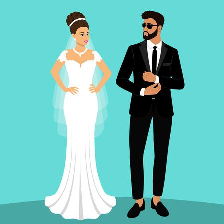 Sposa e sposo. Coppia. Carta di matrimonio con gli sposi. Oggetti isolati. Illustrazione vettoriale.