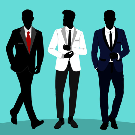 Wedding men s suit and tuxedo. Gentleman. Collection. The groom. Vector illustration