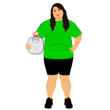 Lifestyle. The choice. Fat woman. Incorrect food. Weighing Isolated objects Vector illustration