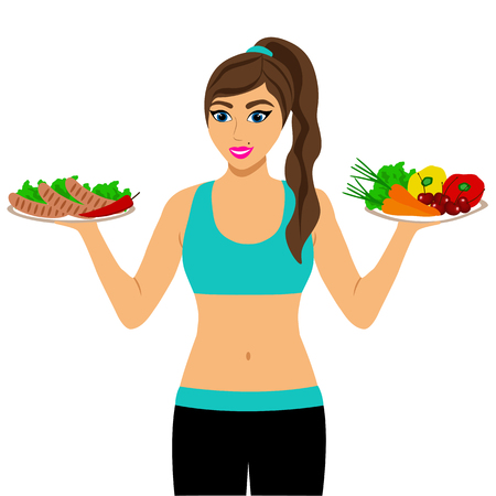 Healthy Lifestyle. The choice. Thin woman. Proper nutrition. Isolated objects. Flat design Vector illustration Иллюстрация