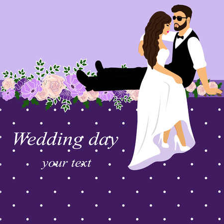 Invitation card with the bride and groom in vintage style. Bride and groom. Flowers. Couple. Wedding invitation. Vector illustration.