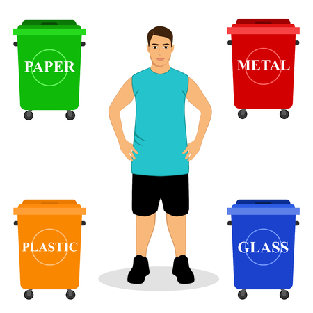 Ecology. Sort garbage. Garbage bins. Clean planet. Ecological solutions. Flat design Vector illustration