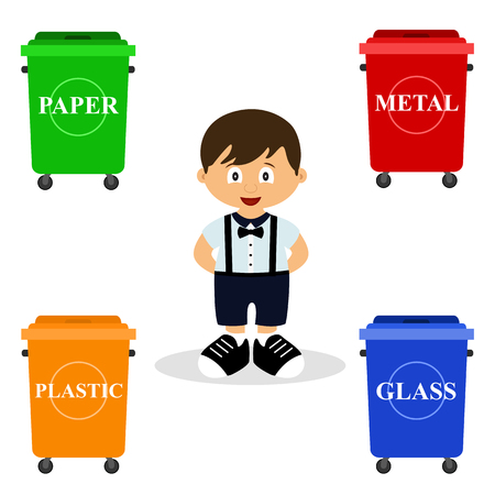 Ecology. Sort garbage. Garbage bins. Clean planet. Child. Ecological solutions Flat design Vector illustration Иллюстрация