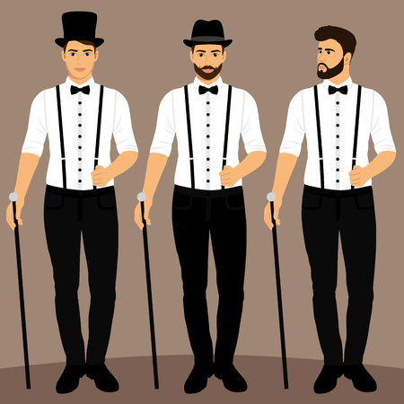 Gentleman. The groom. Clothing. Collection. Wedding men s suit tuxedo Vector illustration
