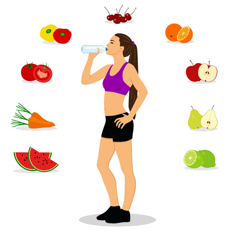 Healthy Lifestyle. The girl drinks water. Thin. Proper nutrition.