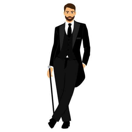Gentleman. The groom. Clothing. Wedding men s suit, tuxedo Vector illustration