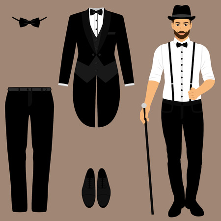 Men s tuxedo. Gentleman. Men s Accessories. Wedding men s set. Flat design. Vector illustration. Иллюстрация
