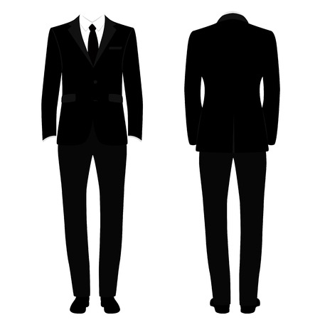 Men s tuxedo. Gentleman. Wedding men s set. Flat design. Vector illustration