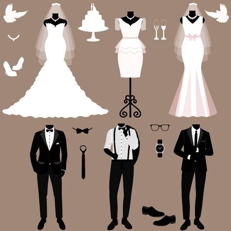 Wedding card with the clothes of the bride and groom. Wedding set. Иллюстрация