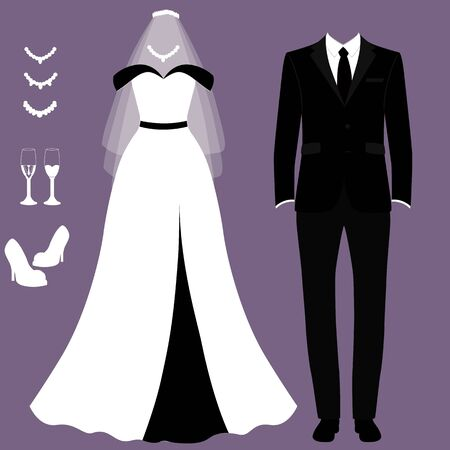 Wedding card with the clothes of the bride and groom. Wedding set. Фото со стока - 127824189