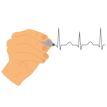 Hand icon. Hand draws a cardiogram with a marker. Isolated object. Vector illustration.