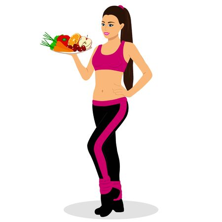 Healthy Lifestyle. Thin. Proper nutrition. Sports girl. Flat design Vector illustration Иллюстрация