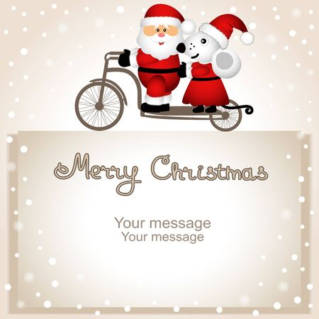 Christmas card. Year of the rat. Santa Claus and Christmas mouse on a bicycle.