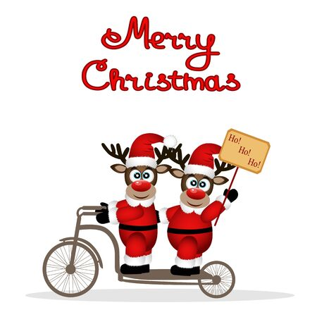 Christmas card. Christmas reindeers on a bicycle. Funny postcard with Christmas reindeer. Merry Christmas. Vector Illustration