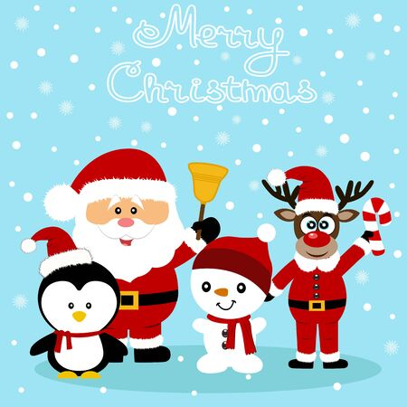Christmas card. Funny postcard with Santa Claus, Christmas reindeer, snowman and penguin. Vector Illustration.