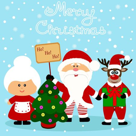 Christmas card. Funny postcard with Santa Claus, Mrs. Santa Claus and Christmas reindeer. Vector Illustration.